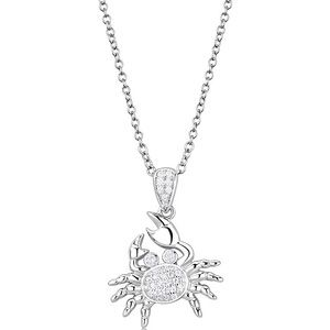 .925 Sterling Silver Rhodium Crab Necklace